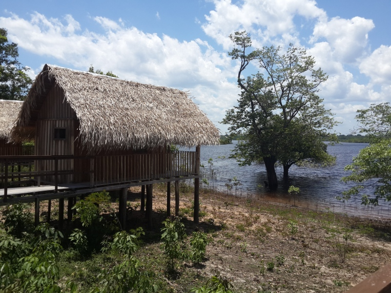 Our jungle cabin on the edge of the river bank